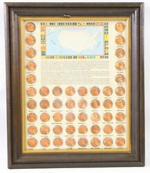 1989 50 State Counterstamped Lincoln Memorial Cent 50 Coin Frame Vintage