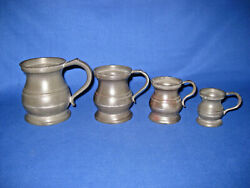 Four Antique Victorian Pewter Tankards, James Yates / Gill / V.r / Other Marks.
