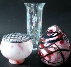 Group Of Dartington Art Glass Items Paperweight/Flower Bowl/Bud Vase Labelled