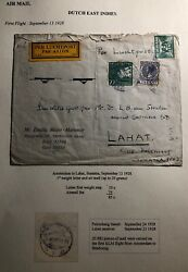1928 Amsterdam Netherlands First Flight Cover Ffc To Lahat Dutch East Indies