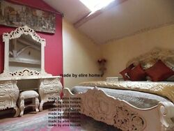 White or Cream Rococo bedroom set with 6' bed and dressing table Carved Mahogany