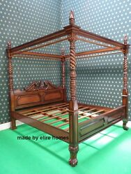 Super King Size Four Poster Mahogany Wood Queen Anne Style Bedframe