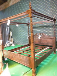Super King 6and039 Antique Mahogany Queen Anne Reproduction Four Poster Canopy Bed