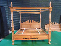 Super King 6and039 Mahogany Natural Queen Anne Reproduction Four Poster Canopy Bed