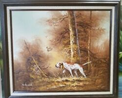 Oil Painting Hound Terrier Spaniel Hunting Dog Quail Woods Signed FERDINAND FS
