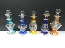 Set Of Five Vintage Hand Blown Glass Perfume Bottles Miniatures Colorful Lovely