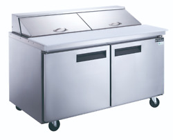 New 2 Door 60 Refrigerated Sandwich Salad Prep Table Dukers Dsp60-16-s2 2199