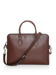 100% AUTHENTIC NEW BURBERRY BARROW BROWN LEATHER BRIEFCASELAPTOPMESSENGER BAG