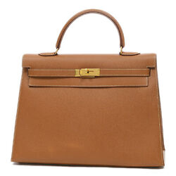 HERMES Kerry 35 outside sewing Courchevel Gold Gold Hardware A stamped Fre...