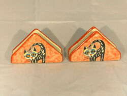Napkin Holder Hand Painted Glazed- Day Of Dead Cat 2x Pack- Mexican Folk Art