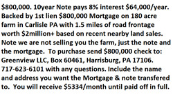 $600000 Note Pays 12% interest $6000month $72000year w1st Lien Mortgage