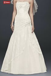 Gently Preowned A-line Wedding Dress With Side Split Details Lace Up Back Train