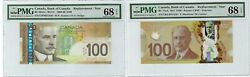 2x Bank Of Canada 100 Dollars Replacement Notes Pmg 68 Epq Superb Gem Unc. Rare