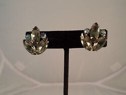 STUNNING VINTAGE ESTATE HIGH END JULIANA  AB GREEN RHINESTONE EARRINGS # S 1173
