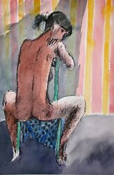 Guy Bardone - Painting Original - Watercolour - Naked With Chair