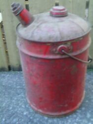 Antique Gas Can Red 10 Gallon Size Man Cave / Garage Item