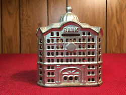 Domed Bank Cast Iron Bank 4 1/2 A.c. Williams Usa 1899-1910and039s Near Mint