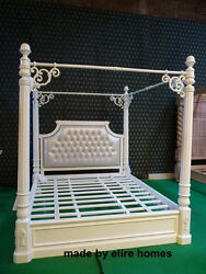 Super King WHITE Designer french style luxury Chatelet® Four Poster mahogany bed