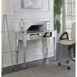 Mirrored Vanity Make Up Desk Console Desk Dressing Silver Glass Table Modern