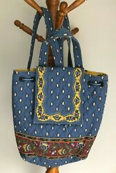 VERA BRADLEY MIMI BACKPACK FRENCH BLUE YELLOW RETIRED RARE GOOD CONDITION $14.99
