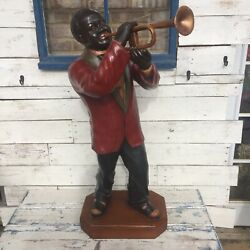 Large Jazz Trumpet Player Statue Louis Armstrong New Orleans Musician Figurine