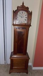 Antique Time Only Tall Or Long Case Grandfather Clock Single Weight With Second