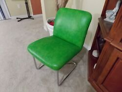 Design Institute Of America Chrome & Green Apple Accent Chair! Vintage & Rare!