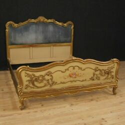 Double bed antique style design vintage furniture in painted and gilt wood 900