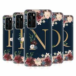 Nature Magick Floral Monogram Gold Navy 2 Soft Gel Case For Huawei Phones