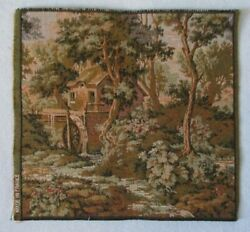 French Tapestry Wall Hanging 10 X 10 Country House Water Wheel Made In France