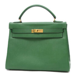 HERMES Kerry 32 Inner Stitching Courchevel Green Gold Hardware W Engraved ...