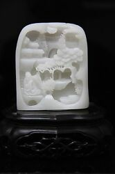 Certified Chinese Hetian Nephrite Jade Decoration. Master Carver
