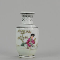 Marked Chinese Porcelain 1960-70and039s Proc Vase Lady In Garden Calligraphy ...