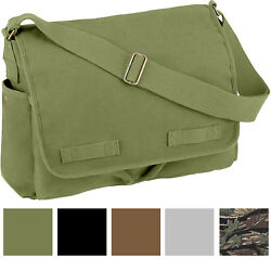 Vintage Canvas Messenger Bag Heavyweight Military Shoulder School Satchel Sling $25.99