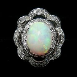 8600  5.05 Ct White Gold Antique Design Opal And Diamond Cocktail Ring 14 Kt