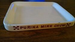 Vintage Purina Mink Chow Plate Ralston Pottery Dish Advertising Sign 8 X 10