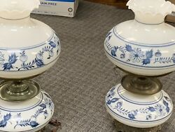 Pair Of Hand Painted Hurricane Lamps