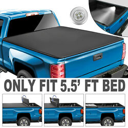 4-fold 5.5ft Bed Truck Tonneau Cover For 15-21 Ford F150 Super Crew Cab Model