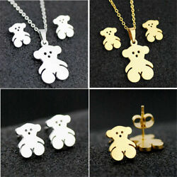 New Stainless steel Bear Pendant Necklace Earrings Woman Jewelry Set hollow out