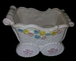 Vintage NAPCO Colorful Baby Carriage Planter with Daisies & Roses C- 8289