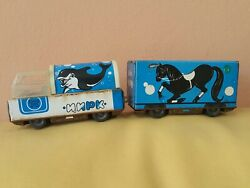 Vintage Circus Truck And Trailer Tin Toy 1960's Metal Plastic Ussr Russia Cccp