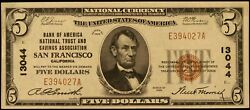 5.00 San Francisco California National Currency Note