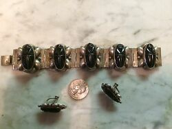 Vtg '1950 onyx sterling silver 925 Mayas Mexico ethnic earrings bracelet set