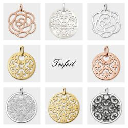 Arabesque Ornament Rose Round Pendants Fashion 925 Sterling Silver Trendy Gift