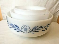 Federal Glass Milk Glass Mixing Bowls Nesting Bowl Blue Flower F In Shield