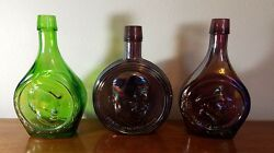 3 Wheaton Glass Collectibles Kennedy - Eisenhower - Macarthur Vintage Decanters