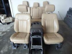 11-16 Ford F250sd Tan Leather Lariat Front/rear Seats W/console W/bag And Bucket