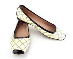 Anyi Lu Size 8 Ivory Patent Quilted Ballet Flats Shoes 38 1/2