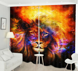 3D Colored Starry Sky Abstract Lion Blockout Print Curtains Drapes Window Decor