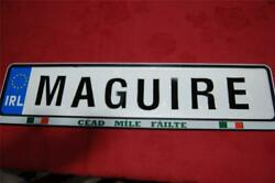 Hodge To Hosey - Family Name On Real Irish Driving License Plate Plaque